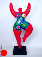 red NANA sculpture height 58cm with colourful pattern