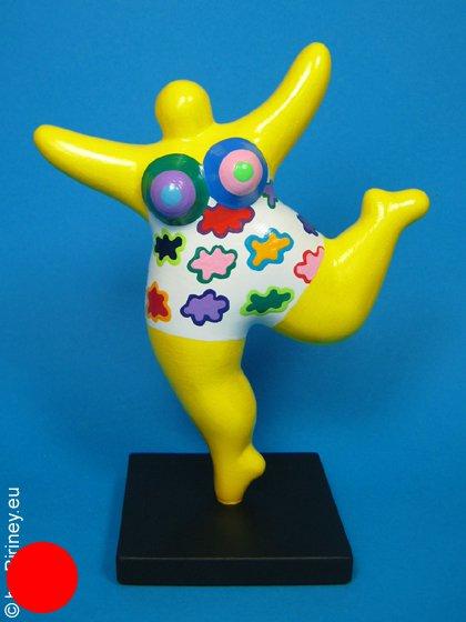 gelbe Mini-Nana 18cm mit buntem Wolken-Muster