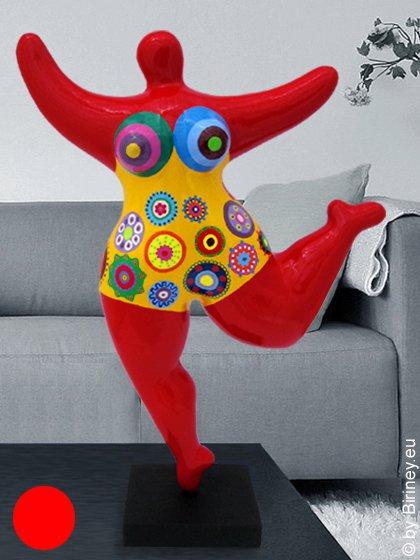 rote Unikat Nana-Figur Höhe 46cm - mit Kreisblumen