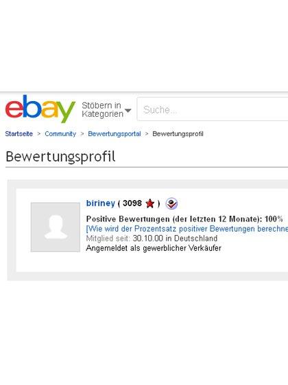 100% positive Kundenbewertungen bei Ebay!