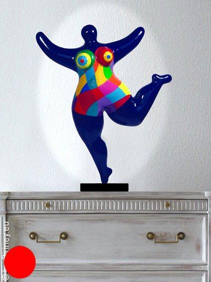 objet unique : sculpture Nana 48cm en bleu foncé