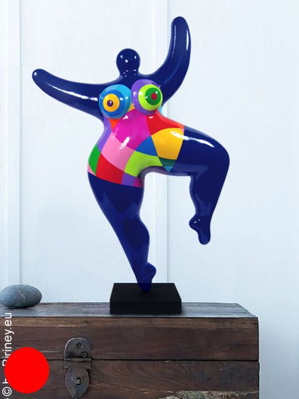 Unikat: 49cm dunkelblaue Nana-Figur bunt gemustert
