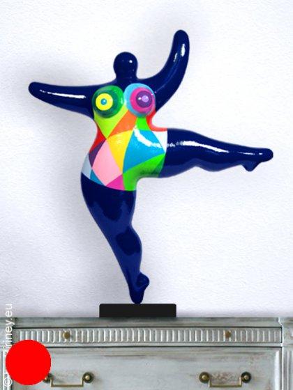 objet unique : sculpture Nana 42cm en bleu foncé