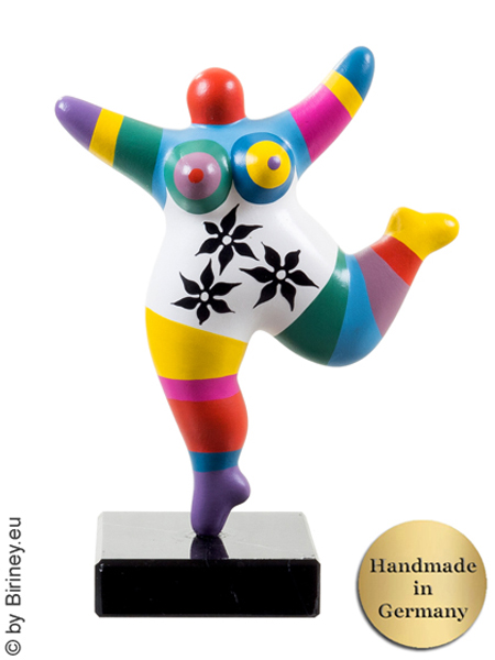 Nana multicolore ! de 19 cm, socle en pierre naturelle