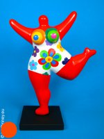 red NANA sculpture with flowers! 27cm