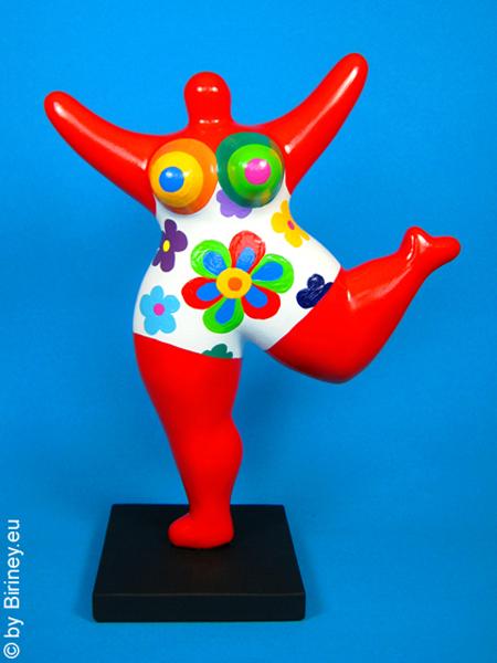 rote Nana-Figur mit bunten Blumen! Höhe 27cm