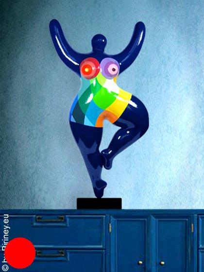Unikat: dunkelblaue Nana-Figur Höhe 56cm