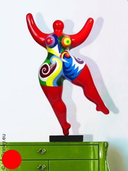 Unikat: rote Nana-Figur Höhe 47cm mit Spiralmustern