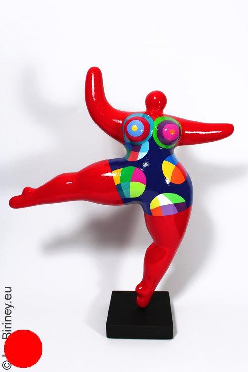 Unikat: rote Nana-Figur Höhe 48cm Polygonmuster