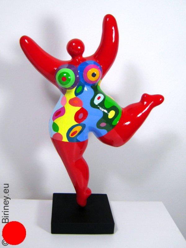 rote Unikat Nana-Figur 37cm mit bunten Mustern
