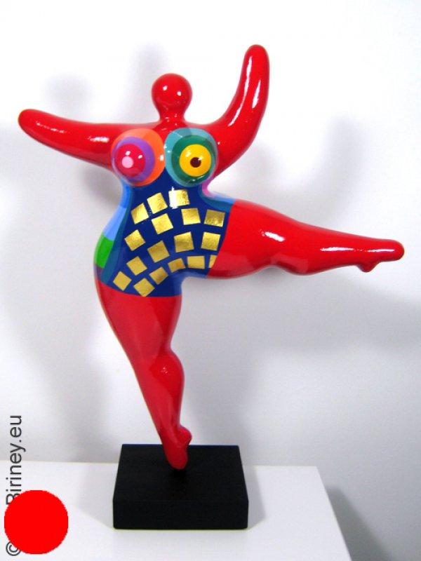 Unikat: rote Nana-Figur Höhe 46cm mit Blattgold