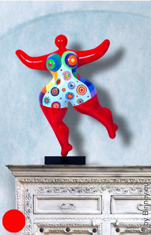 Unikat: rote Nana-Figur Höhe 64cm bunte Blüten