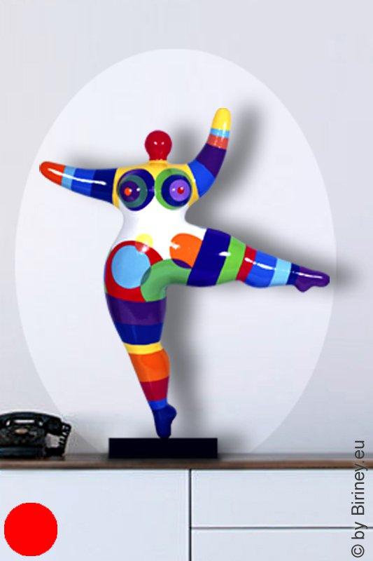 Unikat: Nana-Figur Höhe 52cm bunt gestreift