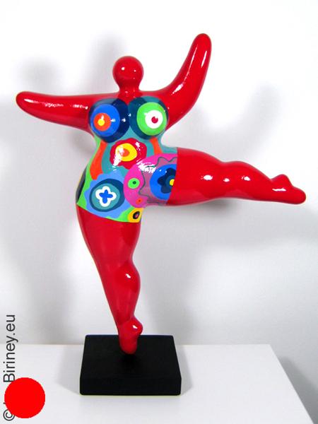 verkauft: rote Unikat Nana-Figur 39cm mit bunten Mustern