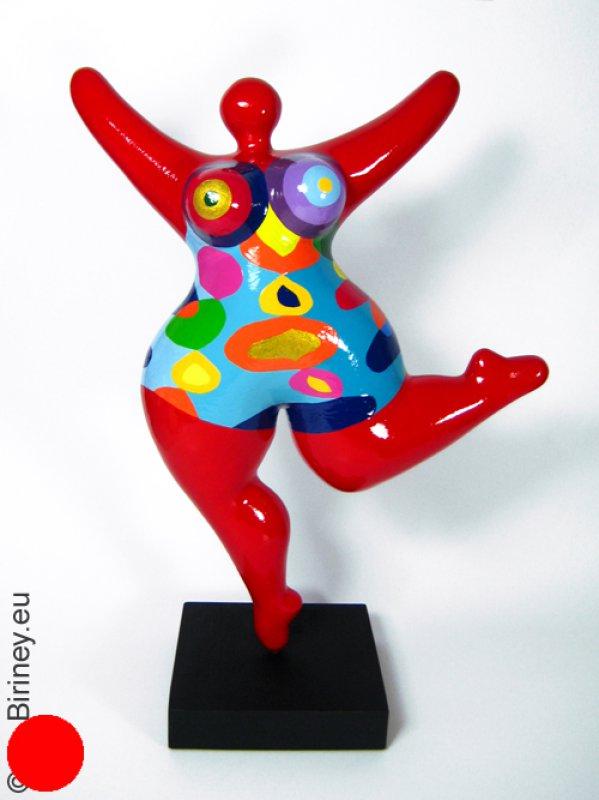 rote Unikat Nana-Figur 36cm mit bunten Mustern
