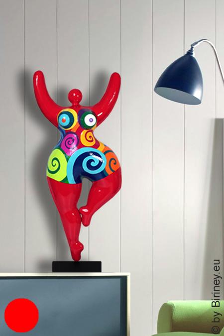 verkauft: rote Unikat Nana-Figur Höhe 67cm mit Spiralmuster