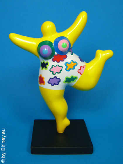 yellow NANA sculpture 18cm with coloured pattern