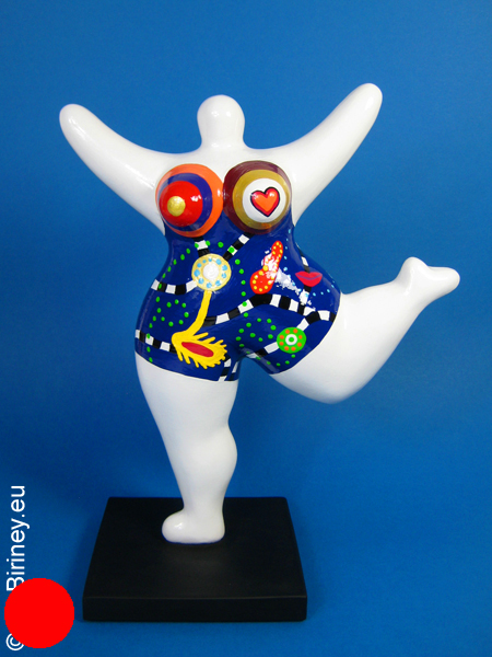 white NANA sculpture with coloured pattern! 10 inches/ 26cm
