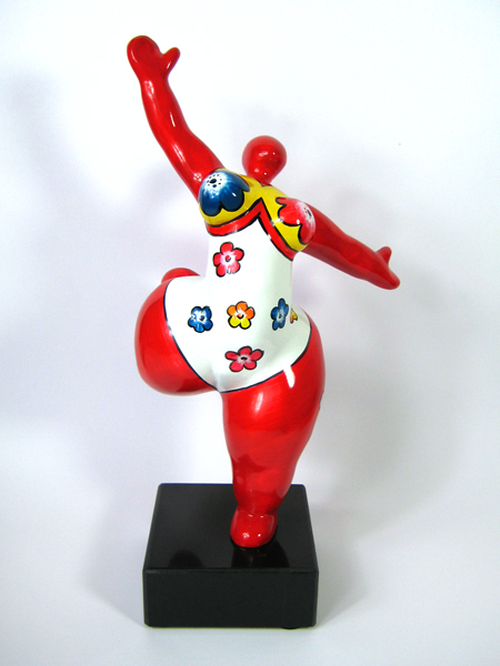 red NANA resin sculpture with flowers height 13 inches on a stone-base