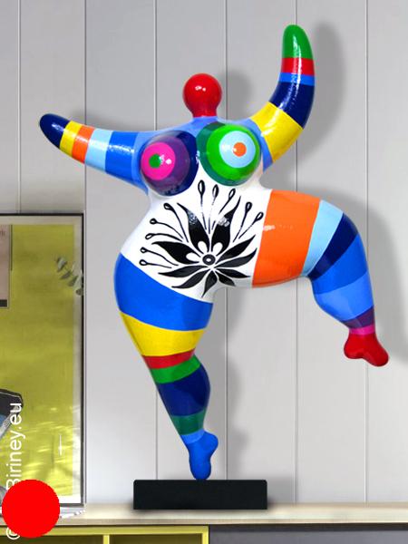 verkauft: Unikat bunt gestreifte Nana-Figur Höhe 49cm