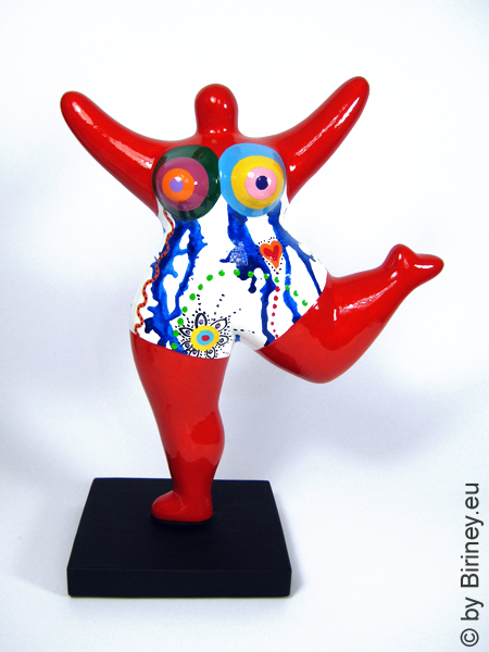 rote Nana-Figur mit Freihand-Muster! Keramik Höhe 26cm