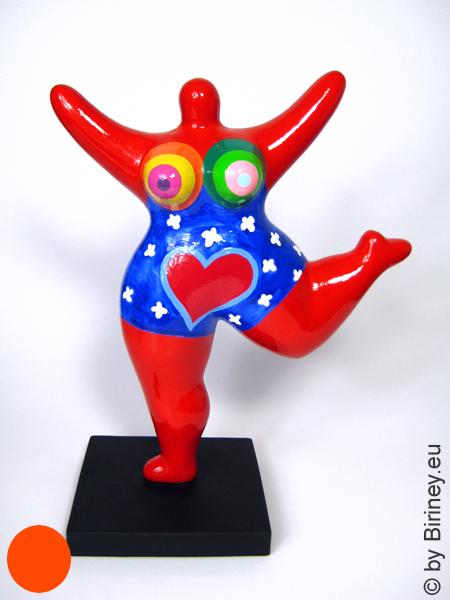 z.Zt. ausverkauft / rote Nana-Figur mit Herz! Keramik Höhe 26cm