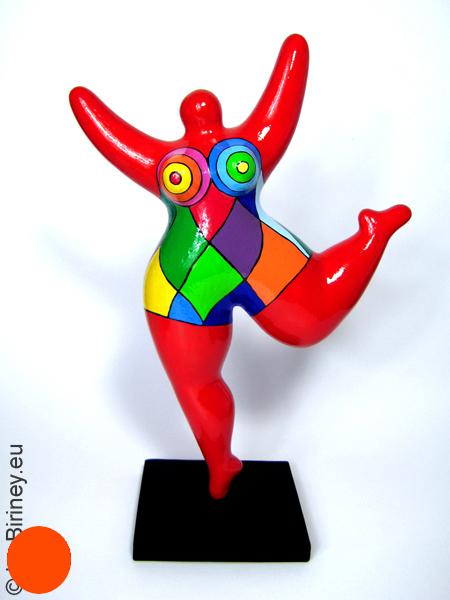 statue Nana en rouge avec des motifs colorés! 32 cm