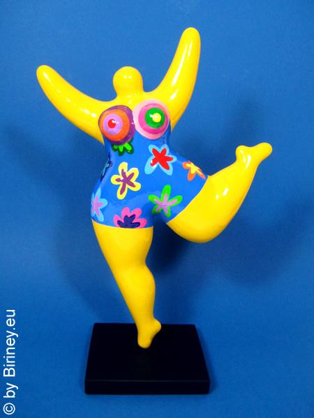 gelbe Nana-Figur mit Blumen! Keramik, Höhe 32cm