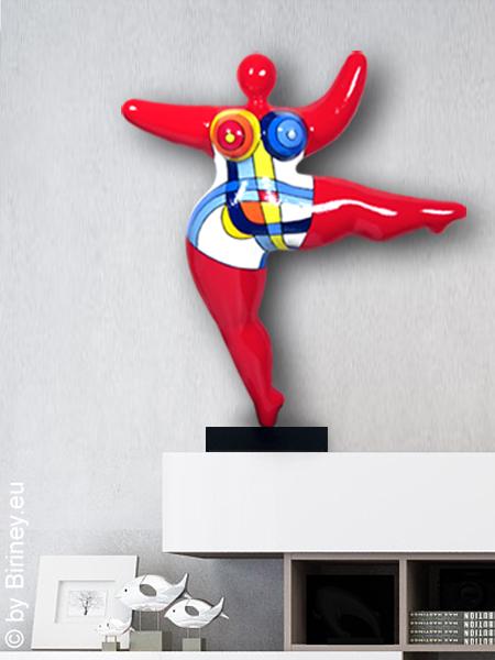 """objet unique : statue Nana de 45cm en rouge """"Mondrian"""""""