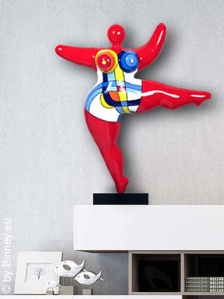 """Unikat: rote Nana-Figur """"Mondrian"""" Höhe 45cm"""