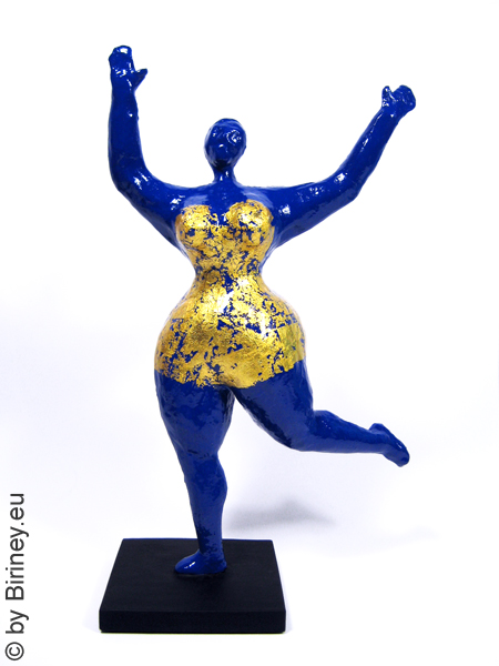 With gold leaf overlay: unique blue Nana figure! 13 inches