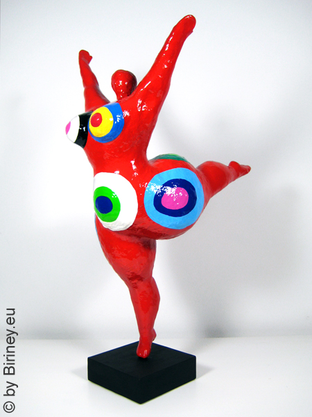 "unique work of art: red Nana figurine ""Balance"" 19 inches"