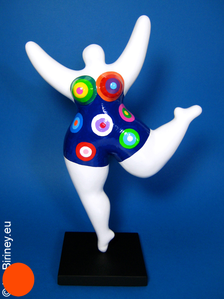white NANA sculpture with coloured pattern! 12.5 inches/ 32cm