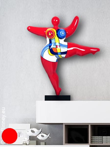 "verkauft: Unikat: rote Nana-Figur ""Mondrian"" Höhe 45cm"