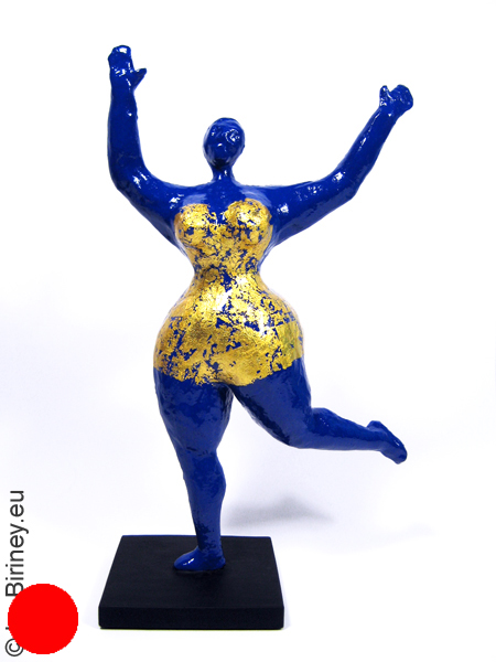sold: With gold leaf overlay: unique blue Nana figure! 13 inches