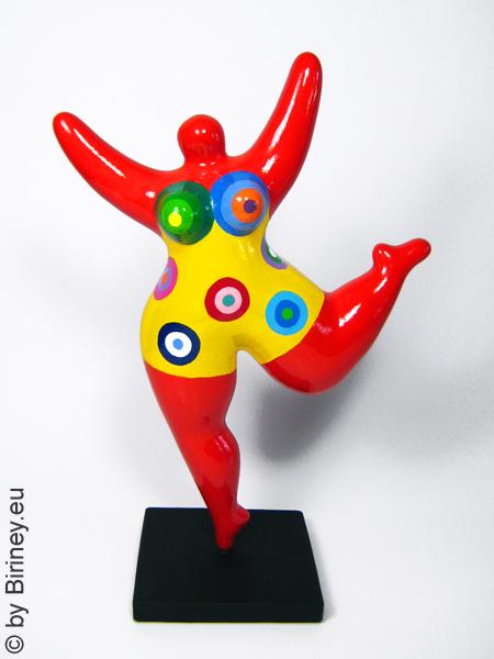 rote Nana-Figur mit Kreismustern! Höhe 32cm Keramik