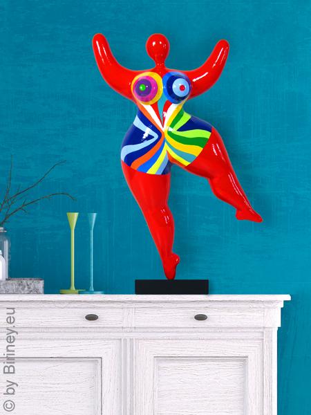 "Unikat: rote Nana-Figur ""Flowing"" Höhe 47cm"