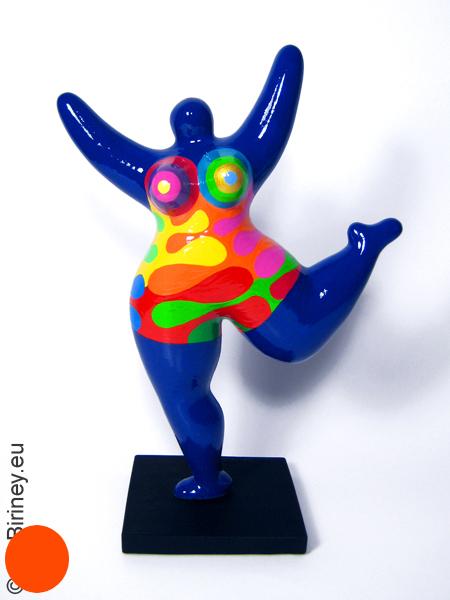 blaue Nana-Figur aus handbemalter Keramik! Höhe 30cm