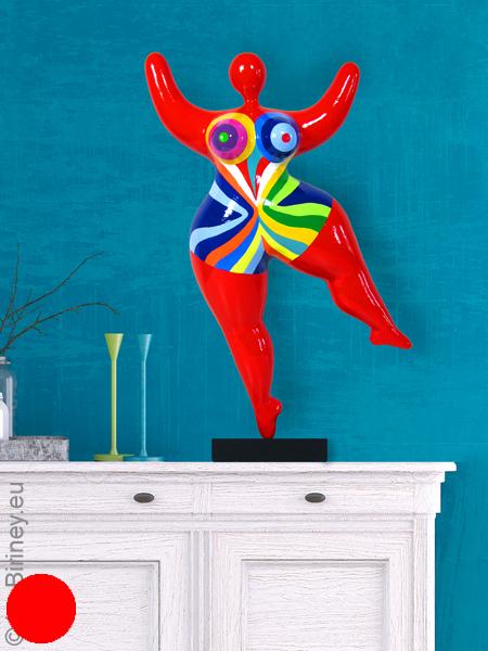 """objet unique : statue Nana de 47cm en rouge """"Flowing"""""""