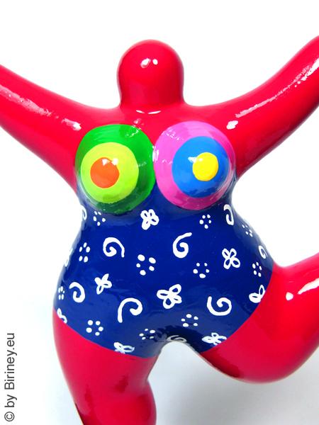 rote Mini-Nana mit bunten Mustern! handbemalt Höhe 18cm
