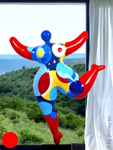 verkauft: Unikat rote Nana-Figur Höhe 63cm mit Kreismustern